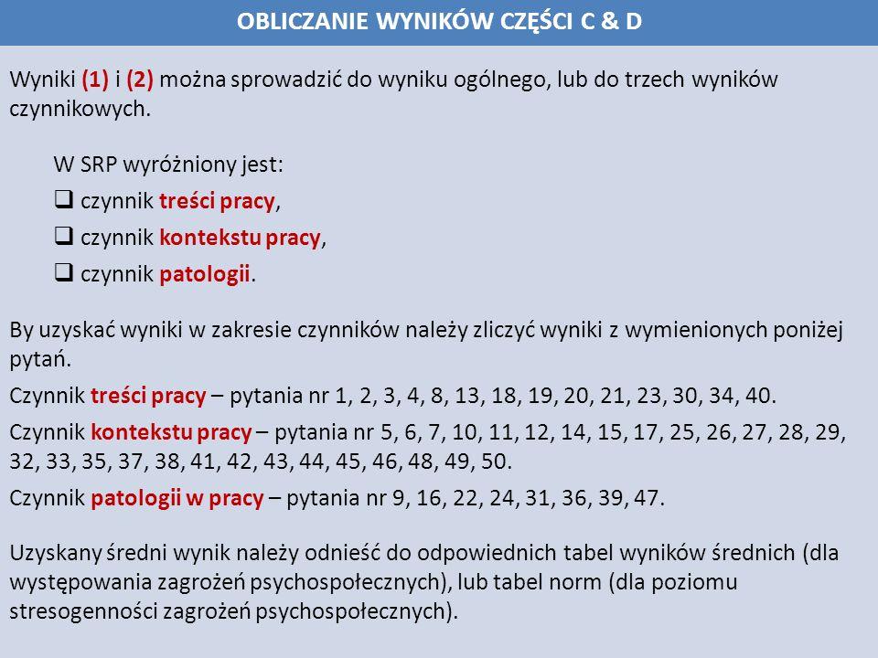 Wyniki (1) i (2) można sprowadzić do wyniku ogólnego, lub do trzech wyników czynnikowych.