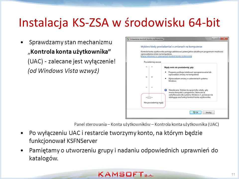 11 Sprawdzamy stan mechanizmu Kontrola konta użytkownika (UAC) - zalecane jest wyłączenie! (od Windows Vista wzwyż) Panel sterowania – Konta użytkowni