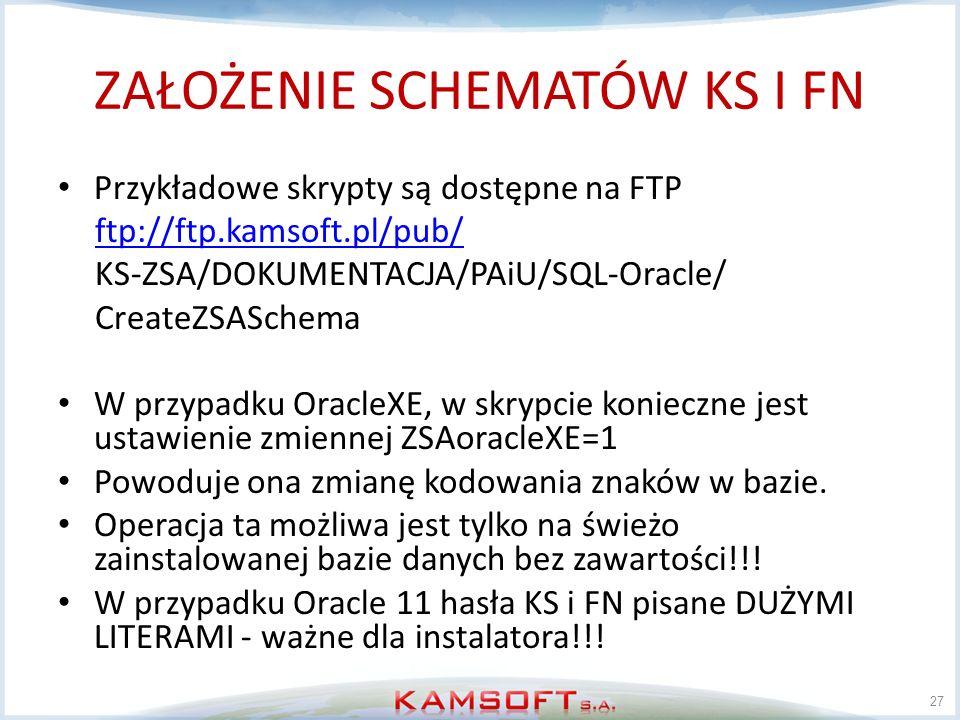 ZAŁOŻENIE SCHEMATÓW KS I FN Przykładowe skrypty są dostępne na FTP ftp://ftp.kamsoft.pl/pub/ KS-ZSA/DOKUMENTACJA/PAiU/SQL-Oracle/ CreateZSASchema W pr