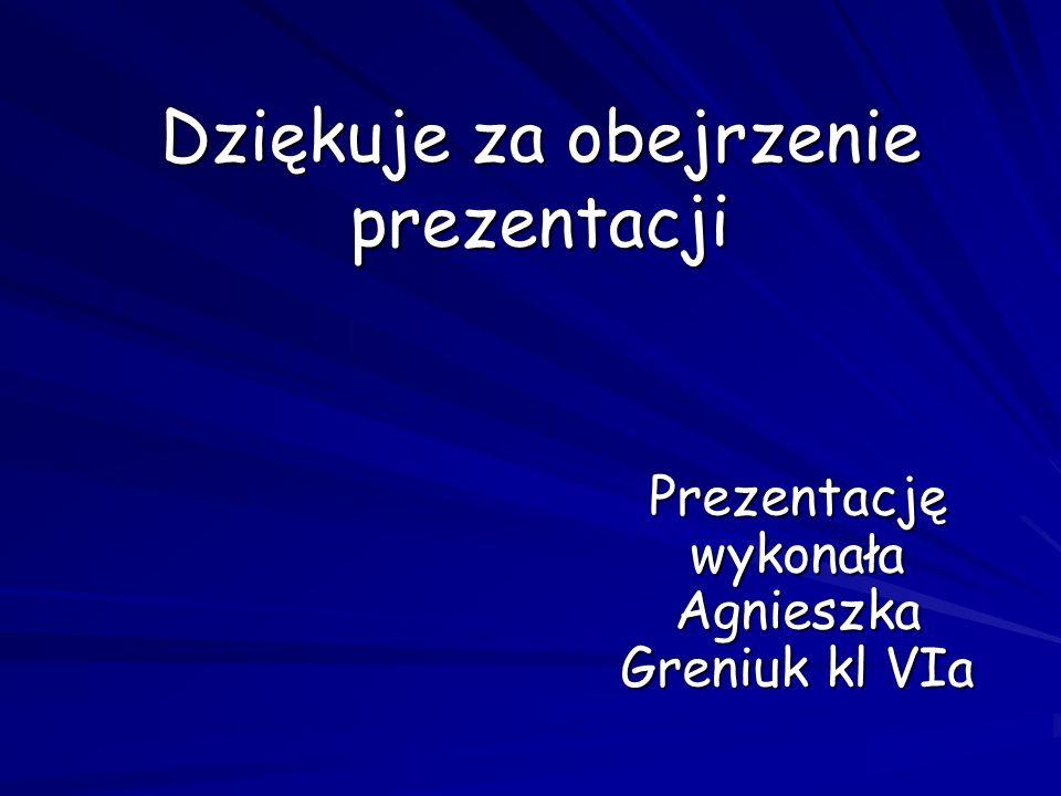 Dziękuje za obejrzenie prezentacji Prezentację wykonała Agnieszka Greniuk kl VIa