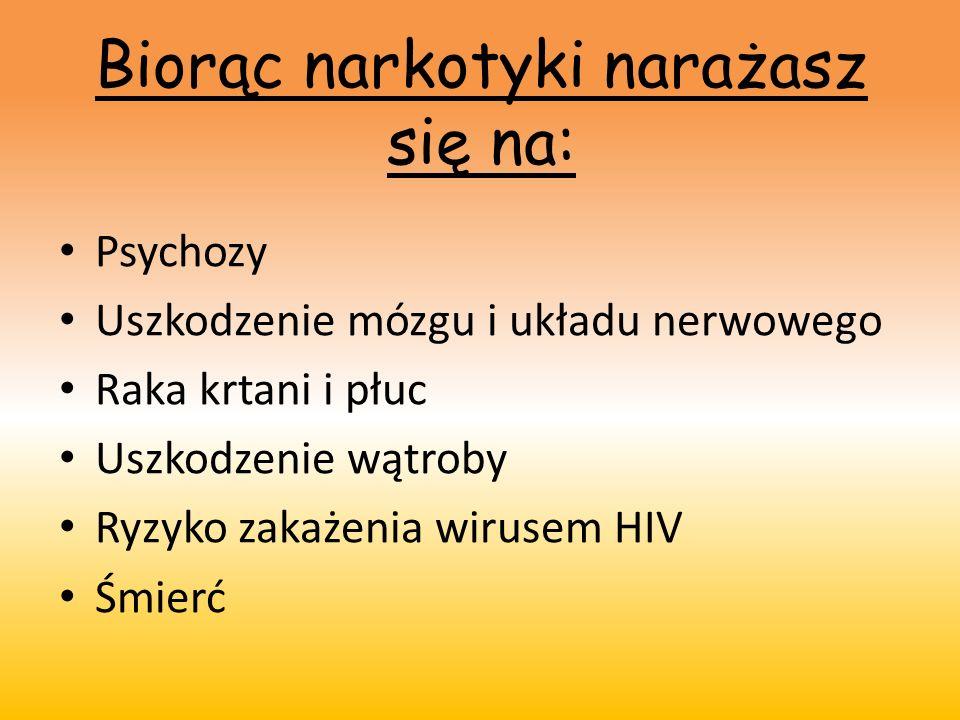 Biorąc narkotyki narażasz się na: Psychozy Uszkodzenie mózgu i układu nerwowego Raka krtani i płuc Uszkodzenie wątroby Ryzyko zakażenia wirusem HIV Śm