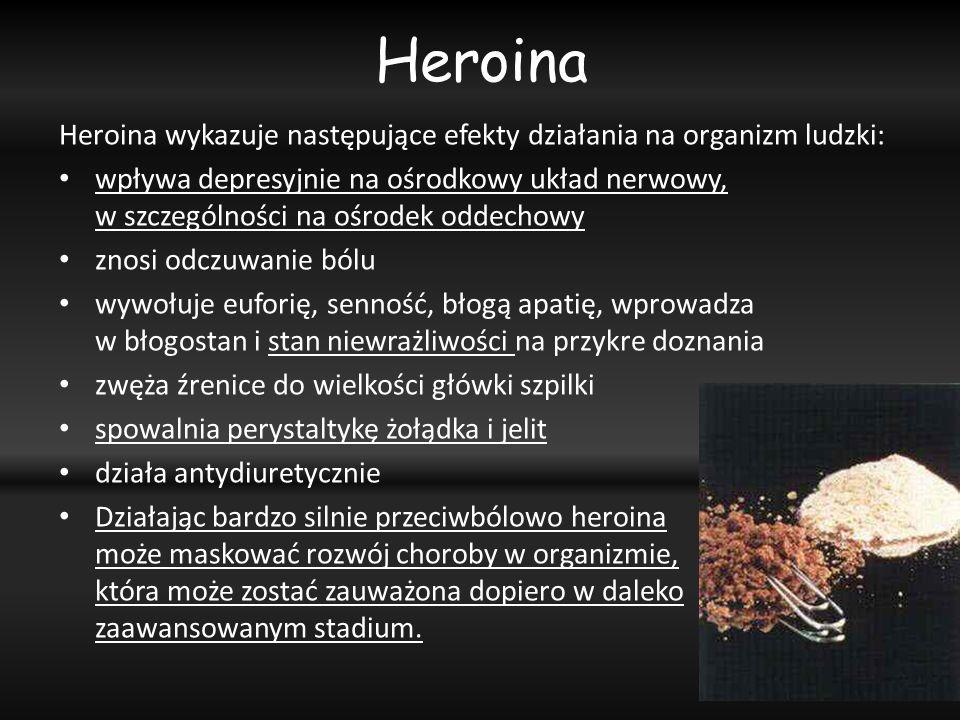 Heroina Heroina wykazuje następujące efekty działania na organizm ludzki: wpływa depresyjnie na ośrodkowy układ nerwowy, w szczególności na ośrodek od