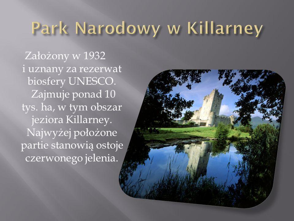Założony w 1932 i uznany za rezerwat biosfery UNESCO. Zajmuje ponad 10 tys. ha, w tym obszar jeziora Killarney. Najwyżej położone partie stanowią osto