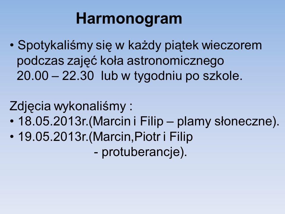 Harmonogram Spotykaliśmy się w każdy piątek wieczorem podczas zajęć koła astronomicznego 20.00 – 22.30 lub w tygodniu po szkole.