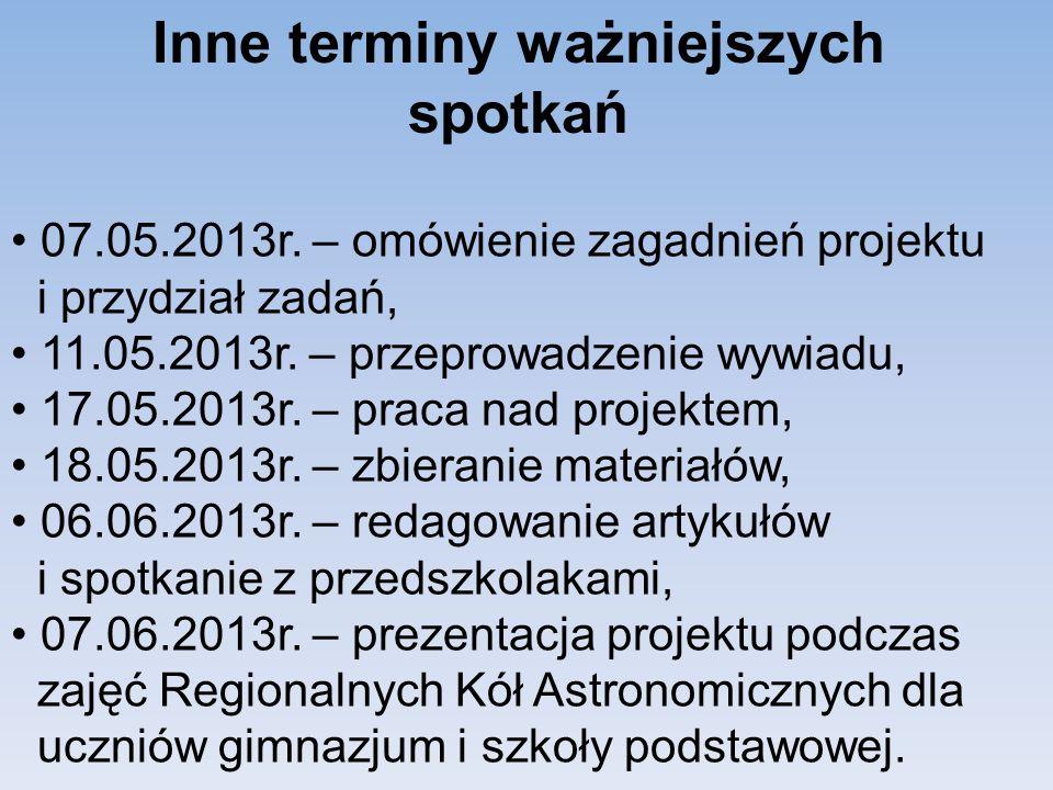 Inne terminy ważniejszych spotkań 07.05.2013r.