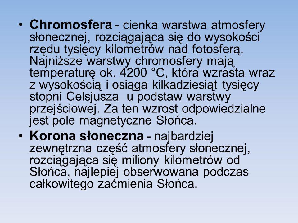 Chromosfera - cienka warstwa atmosfery słonecznej, rozciągająca się do wysokości rzędu tysięcy kilometrów nad fotosferą.