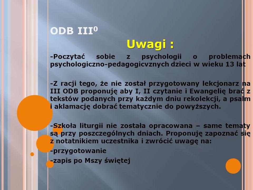 ODB III 0 Uwagi : -Poczytać sobie z psychologii o problemach psychologiczno-pedagogicvznych dzieci w wieku 13 lat -Z racji tego, że nie został przygot