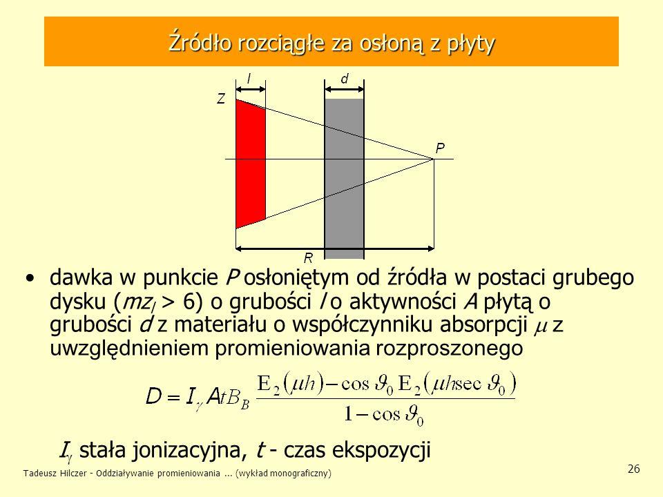 Tadeusz Hilczer - Oddziaływanie promieniowania... (wykład monograficzny) 26 Źródło rozciągłe za osłoną z płyty dawka w punkcie P osłoniętym od źródła