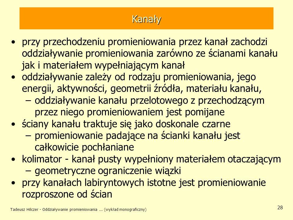Tadeusz Hilczer - Oddziaływanie promieniowania... (wykład monograficzny) 28 Kanały przy przechodzeniu promieniowania przez kanał zachodzi oddziaływani