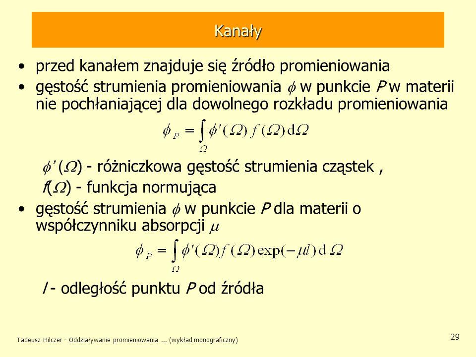 Tadeusz Hilczer - Oddziaływanie promieniowania... (wykład monograficzny) 29 Kanały przed kanałem znajduje się źródło promieniowania gęstość strumienia