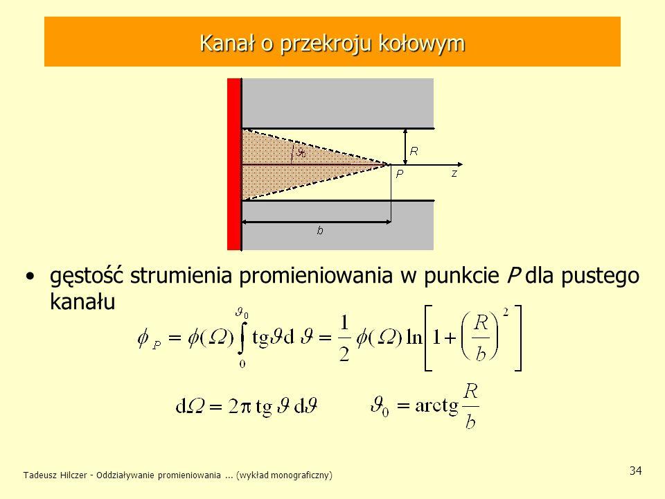 Tadeusz Hilczer - Oddziaływanie promieniowania... (wykład monograficzny) 34 Kanał o przekroju kołowym gęstość strumienia promieniowania w punkcie P dl