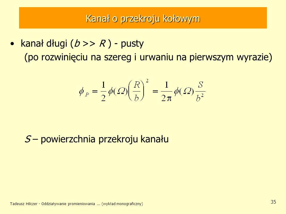 Tadeusz Hilczer - Oddziaływanie promieniowania... (wykład monograficzny) 35 Kanał o przekroju kołowym kanał długi (b >> R ) - pusty (po rozwinięciu na