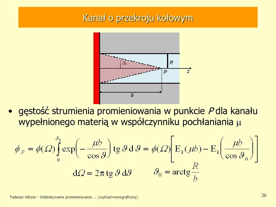 Tadeusz Hilczer - Oddziaływanie promieniowania... (wykład monograficzny) 36 Kanał o przekroju kołowym gęstość strumienia promieniowania w punkcie P dl