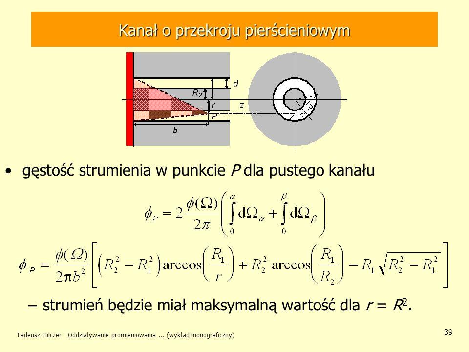 Tadeusz Hilczer - Oddziaływanie promieniowania... (wykład monograficzny) 39 Kanał o przekroju pierścieniowym gęstość strumienia w punkcie P dla pusteg