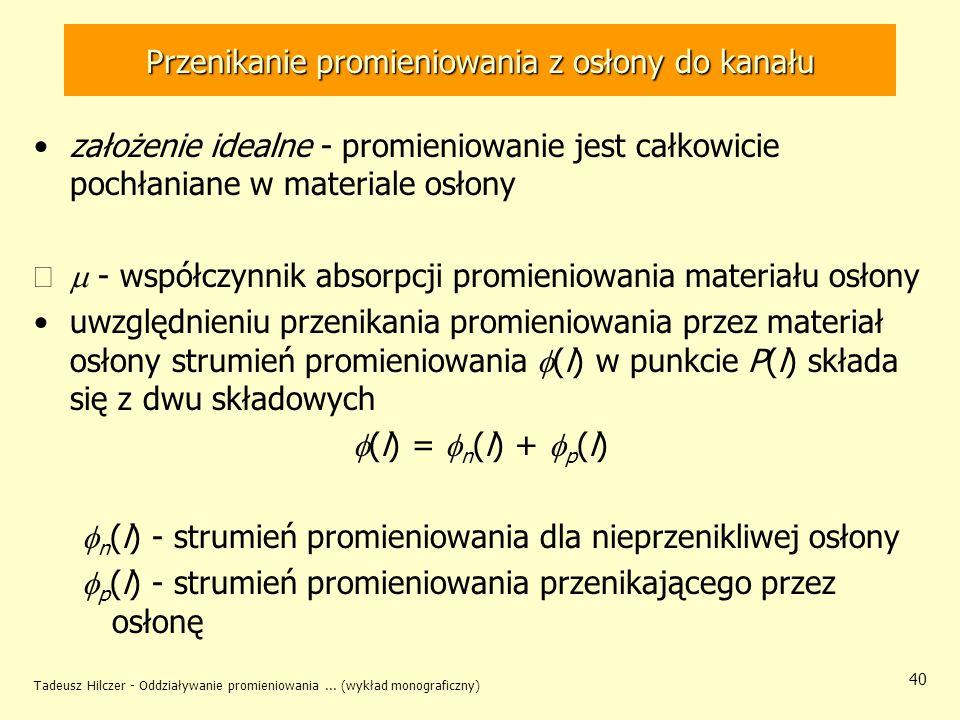 Tadeusz Hilczer - Oddziaływanie promieniowania... (wykład monograficzny) 40 Przenikanie promieniowania z osłony do kanału założenie idealne - promieni