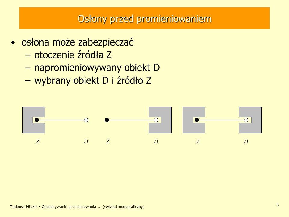 Tadeusz Hilczer - Oddziaływanie promieniowania... (wykład monograficzny) 5 Osłony przed promieniowaniem osłona może zabezpieczać –otoczenie źródła Z –