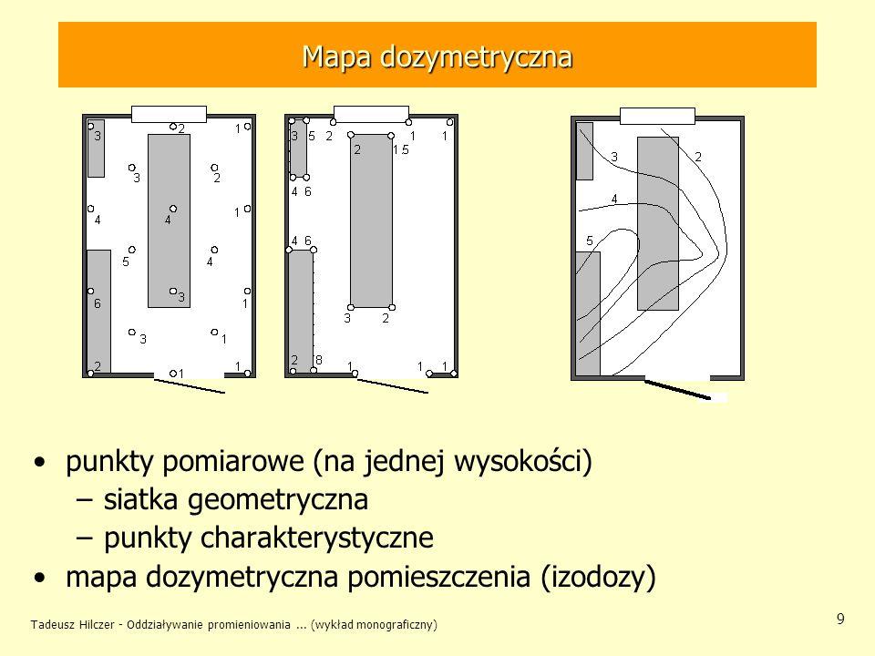 Tadeusz Hilczer - Oddziaływanie promieniowania... (wykład monograficzny) 9 Mapa dozymetryczna punkty pomiarowe (na jednej wysokości) –siatka geometryc