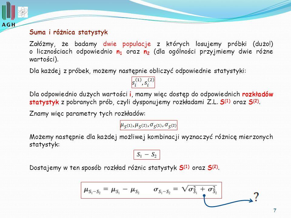 7 Suma i różnica statystyk Załóżmy, że badamy dwie populacje z których losujemy próbki (dużo!) o licznościach odpowiednio n 1 oraz n 2 (dla ogólności
