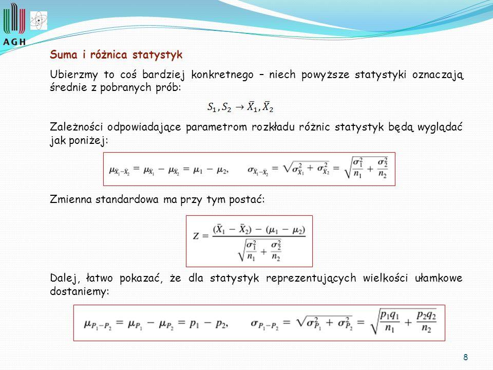 9 Przykład Badanie różnic statystyk, szczególnie pomocne przy porównywaniu wartości średnich.