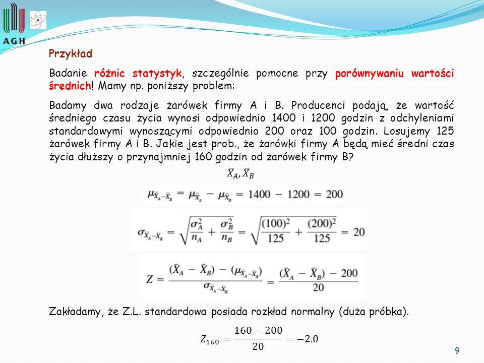 9 Przykład Badanie różnic statystyk, szczególnie pomocne przy porównywaniu wartości średnich! Mamy np. poniższy problem: Badamy dwa rodzaje żarówek fi