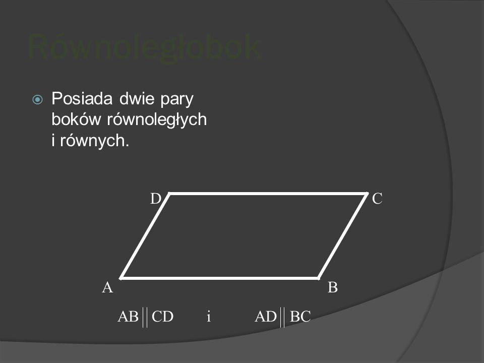 Posiada dwie osie symetrii wyznaczone przez środki przeciwległych boków. D AB C