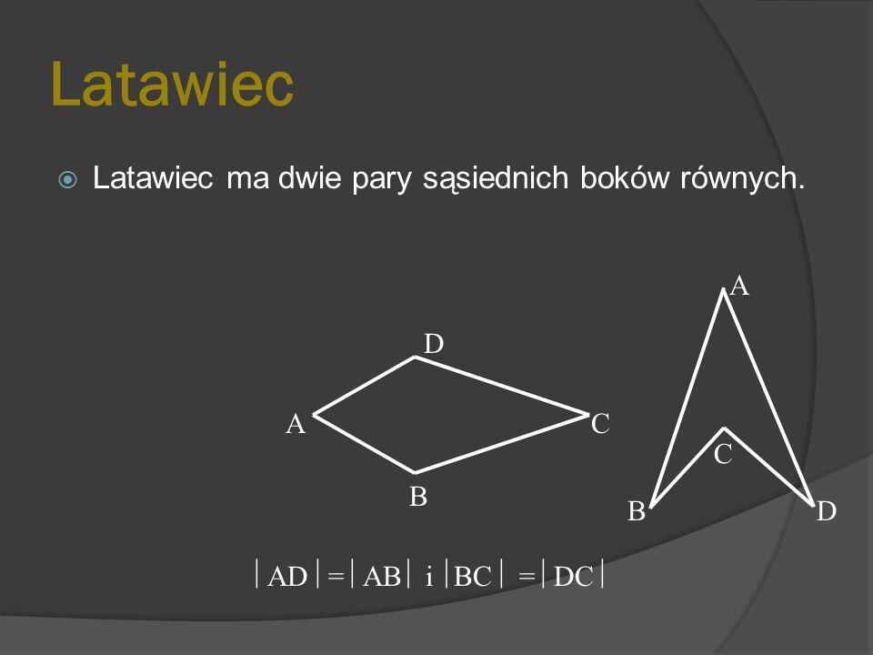 Posiada dwie osie symetrii wyznaczone przez przekątne. B CA D O
