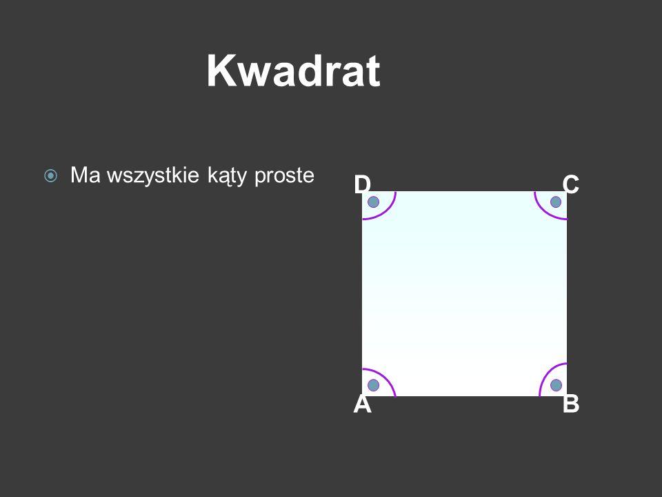 AB CD Kwadrat Ma wszystkie kąty proste