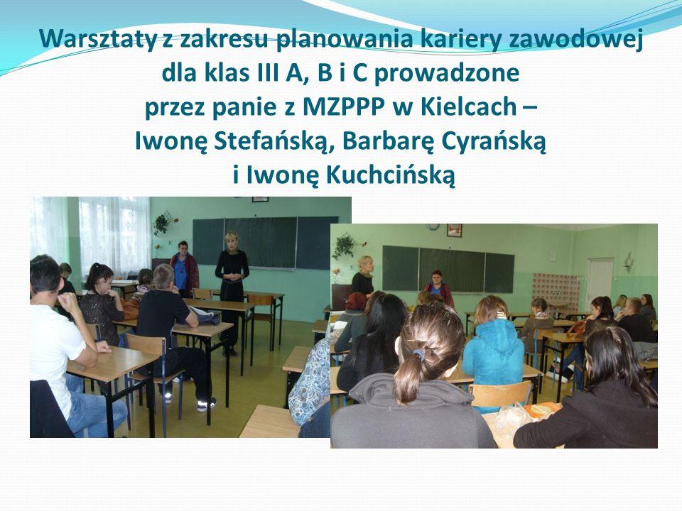 Warsztaty z zakresu planowania kariery zawodowej dla klas III A, B i C prowadzone przez panie z MZPPP w Kielcach – Iwonę Stefańską, Barbarę Cyrańską i Iwonę Kuchcińską