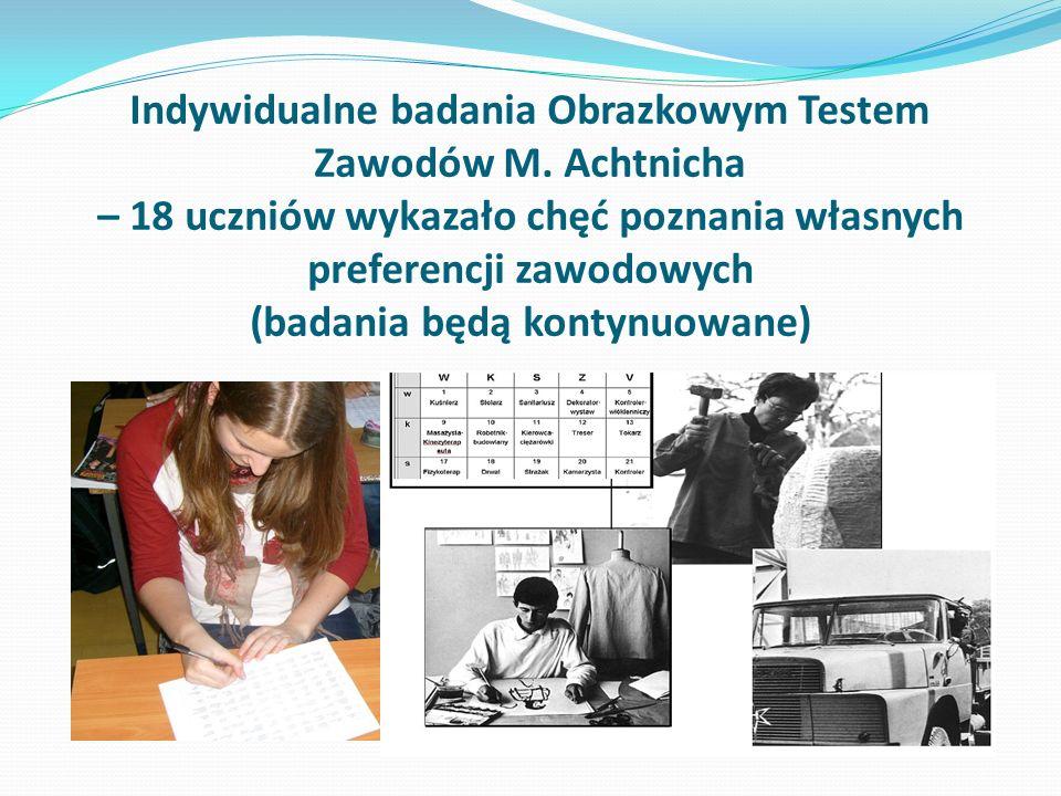 Indywidualne badania Obrazkowym Testem Zawodów M. Achtnicha – 18 uczniów wykazało chęć poznania własnych preferencji zawodowych (badania będą kontynuo