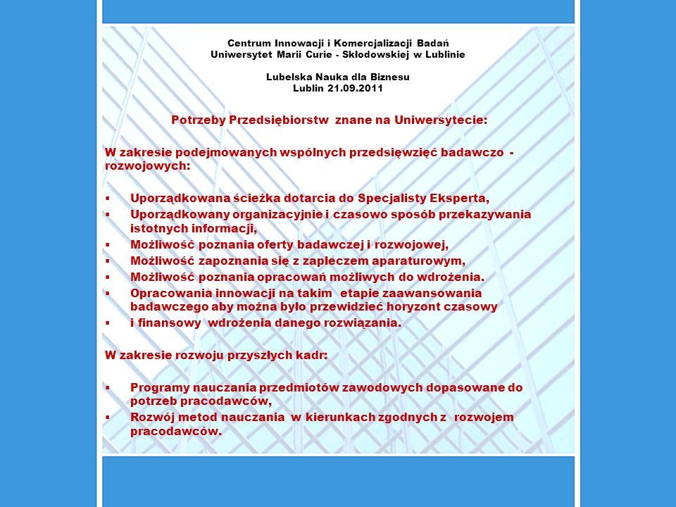 Centrum Innowacji i Komercjalizacji Badań Uniwersytet Marii Curie - Skłodowskiej w Lublinie Lubelska Nauka dla Biznesu Lublin 21.09.2011 Potrzeby Prze