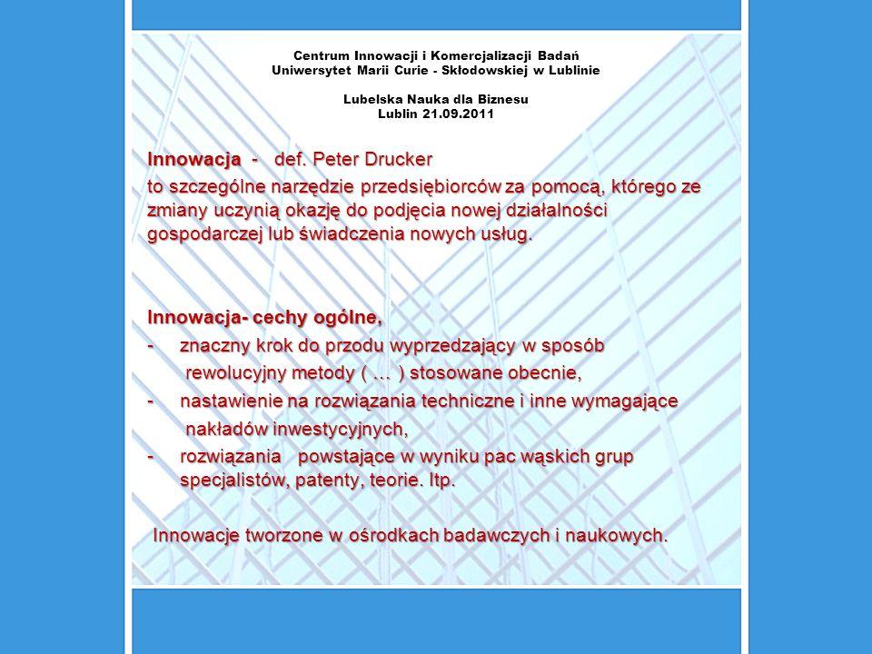 Centrum Innowacji i Komercjalizacji Badań Uniwersytet Marii Curie - Skłodowskiej w Lublinie Lubelska Nauka dla Biznesu Lublin 21.09.2011 Innowacja - d