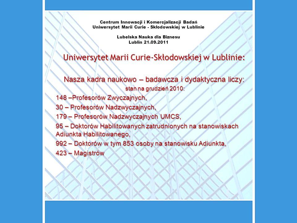 Centrum Innowacji i Komercjalizacji Badań Uniwersytet Marii Curie - Skłodowskiej w Lublinie Lubelska Nauka dla Biznesu Lublin 21.09.2011 Uniwersytet M