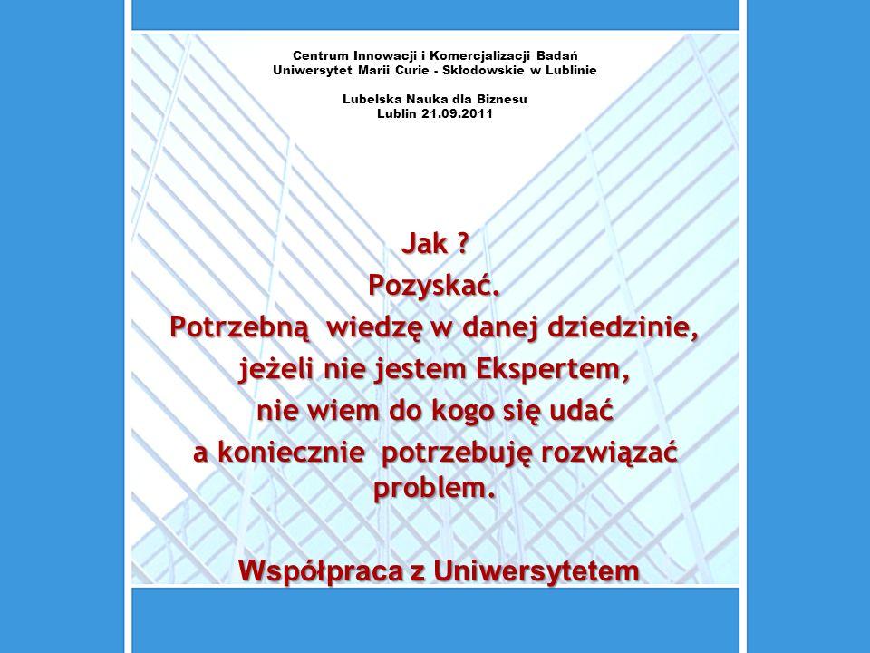 Centrum Innowacji i Komercjalizacji Badań Uniwersytet Marii Curie - Skłodowskie w Lublinie Lubelska Nauka dla Biznesu Lublin 21.09.2011 Jak ? Pozyskać