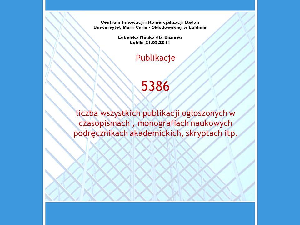 Centrum Innowacji i Komercjalizacji Badań Uniwersytet Marii Curie - Skłodowskiej w Lublinie Lubelska Nauka dla Biznesu Lublin 21.09.2011 Publikacje 53