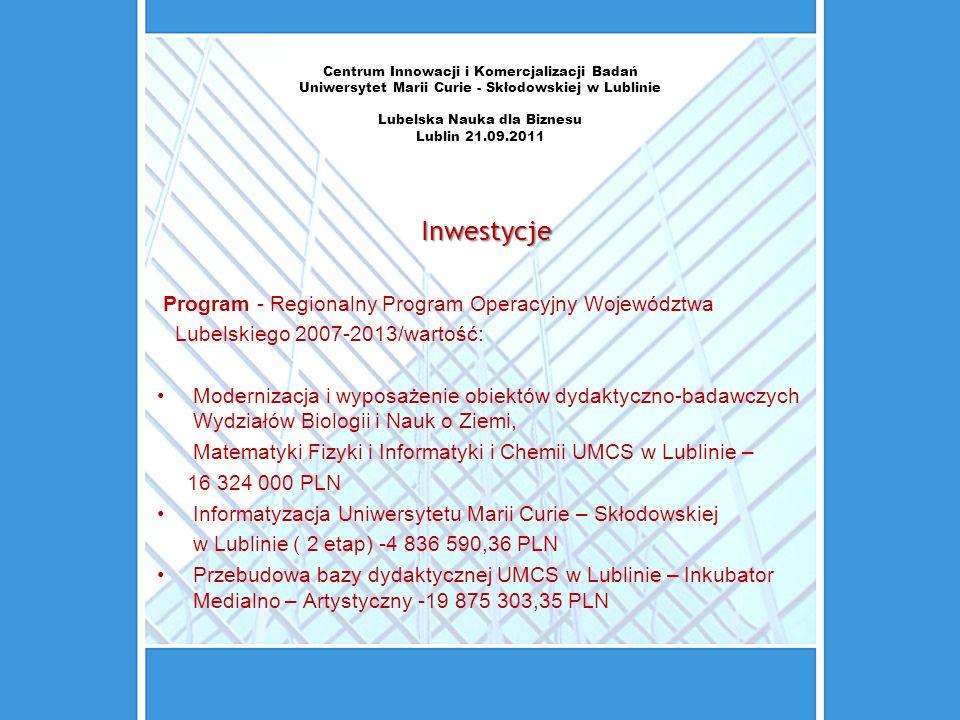 Centrum Innowacji i Komercjalizacji Badań Uniwersytet Marii Curie - Skłodowskiej w Lublinie Lubelska Nauka dla Biznesu Lublin 21.09.2011 Inwestycje Pr