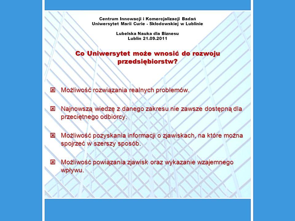 Centrum Innowacji i Komercjalizacji Badań Uniwersytet Marii Curie - Skłodowskiej w Lublinie Lubelska Nauka dla Biznesu Lublin 21.09.2011 Co Uniwersyte