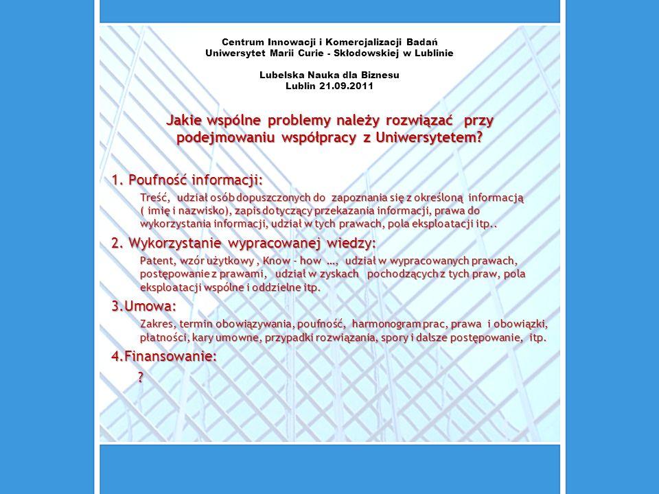 Centrum Innowacji i Komercjalizacji Badań Uniwersytet Marii Curie - Skłodowskiej w Lublinie Lubelska Nauka dla Biznesu Lublin 21.09.2011 Jakie wspólne