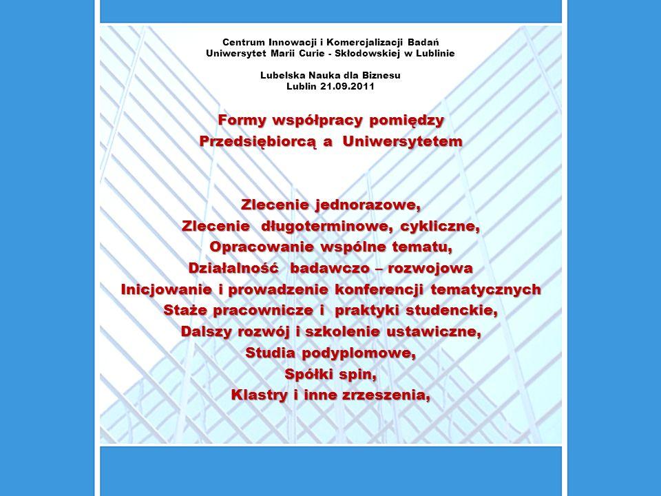 Centrum Innowacji i Komercjalizacji Badań Uniwersytet Marii Curie - Skłodowskiej w Lublinie Lubelska Nauka dla Biznesu Lublin 21.09.2011 Patenty:41 liczba wszystkich wynalazków chronionych w UMCS w tym 8 w procedurze oceny zdolności rozpatrywanych przez UP RP oraz EPO.