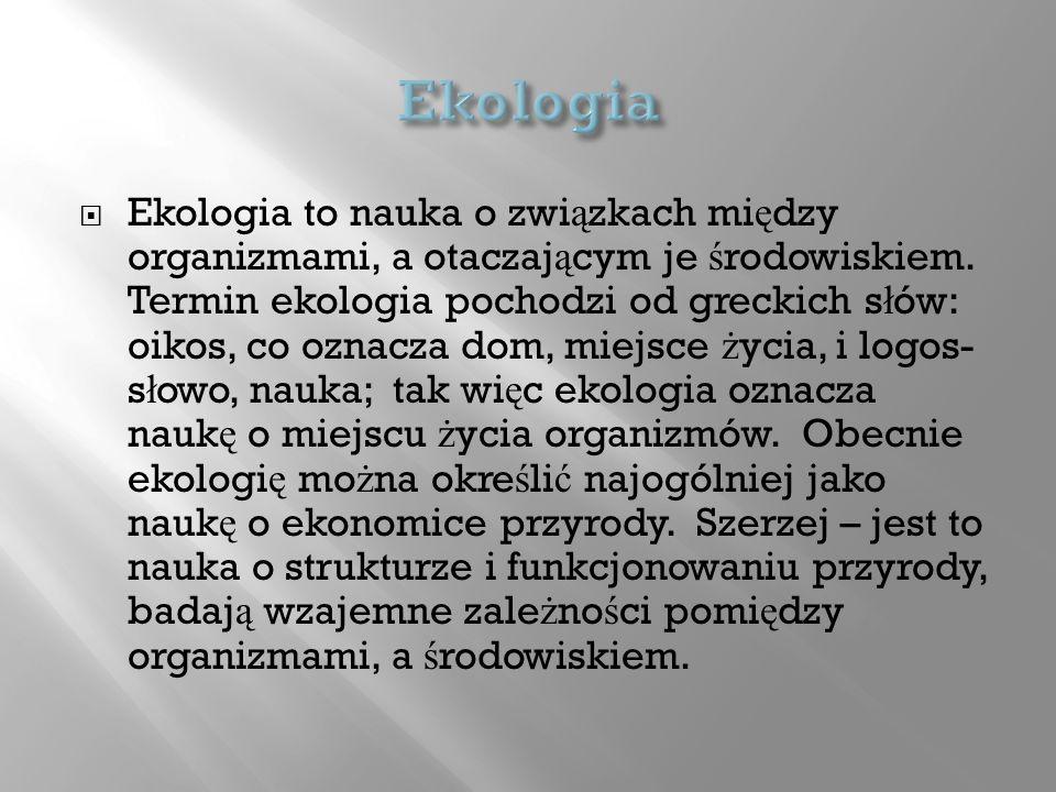 Ekologia to nauka o zwi ą zkach mi ę dzy organizmami, a otaczaj ą cym je ś rodowiskiem. Termin ekologia pochodzi od greckich s ł ów: oikos, co oznacza