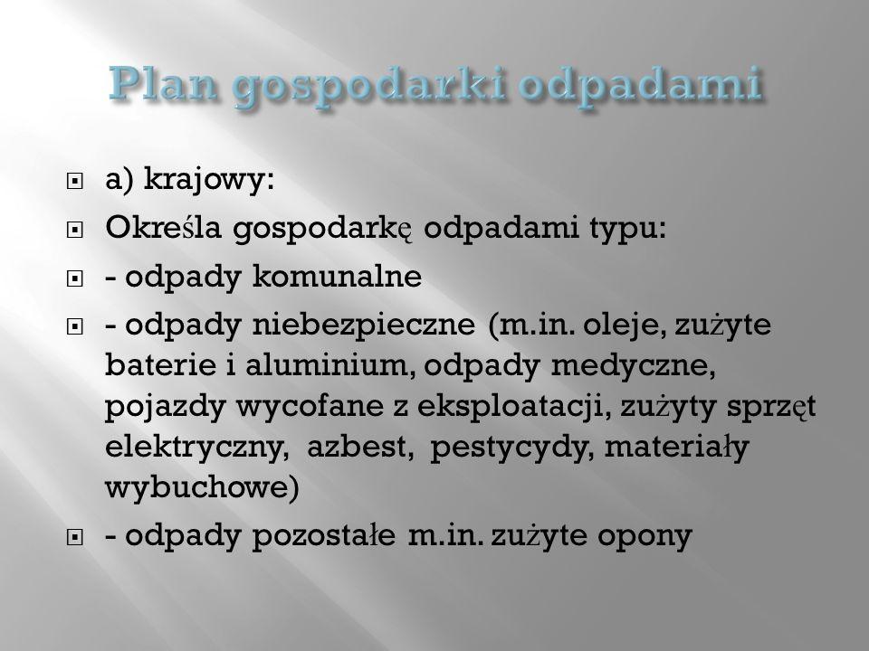 a) krajowy: Okre ś la gospodark ę odpadami typu: - odpady komunalne - odpady niebezpieczne (m.in. oleje, zu ż yte baterie i aluminium, odpady medyczne