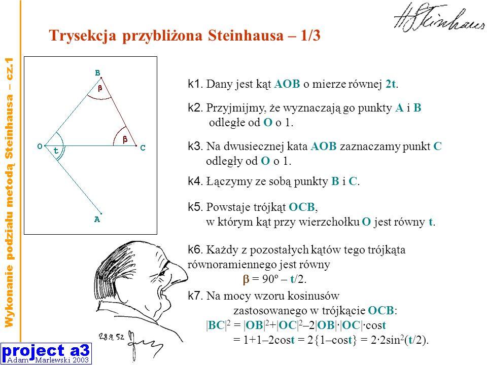 Trysekcja przybliżona Steinhausa – 1/3 k1. Dany jest kąt AOB o mierze równej 2t. k3. Na dwusiecznej kata AOB zaznaczamy punkt C odległy od O o 1. k2.