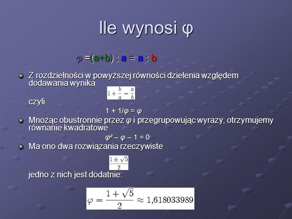 Ile wynosi φ Z rozdzielności w powyższej równości dzielenia względem dodawania wynika czyli 1 + 1/φ = φ Mnożąc obustronnie przez φ i przegrupowując wy