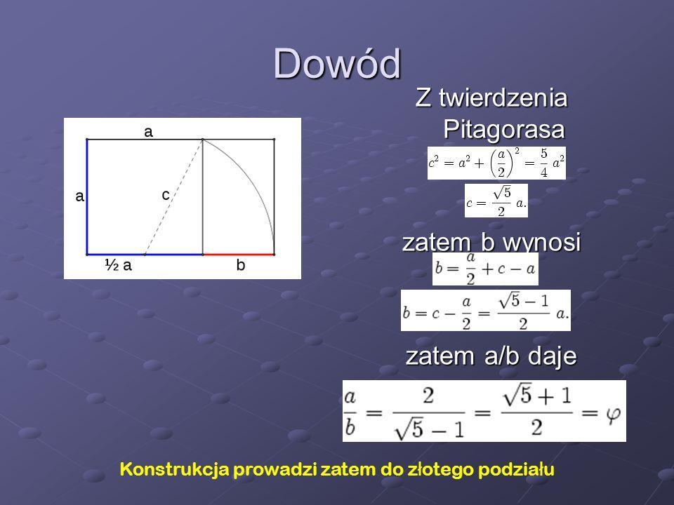 Dowód Z twierdzenia Pitagorasa zatem b wynosi zatem a/b daje Konstrukcja prowadzi zatem do z ł otego podzia ł u