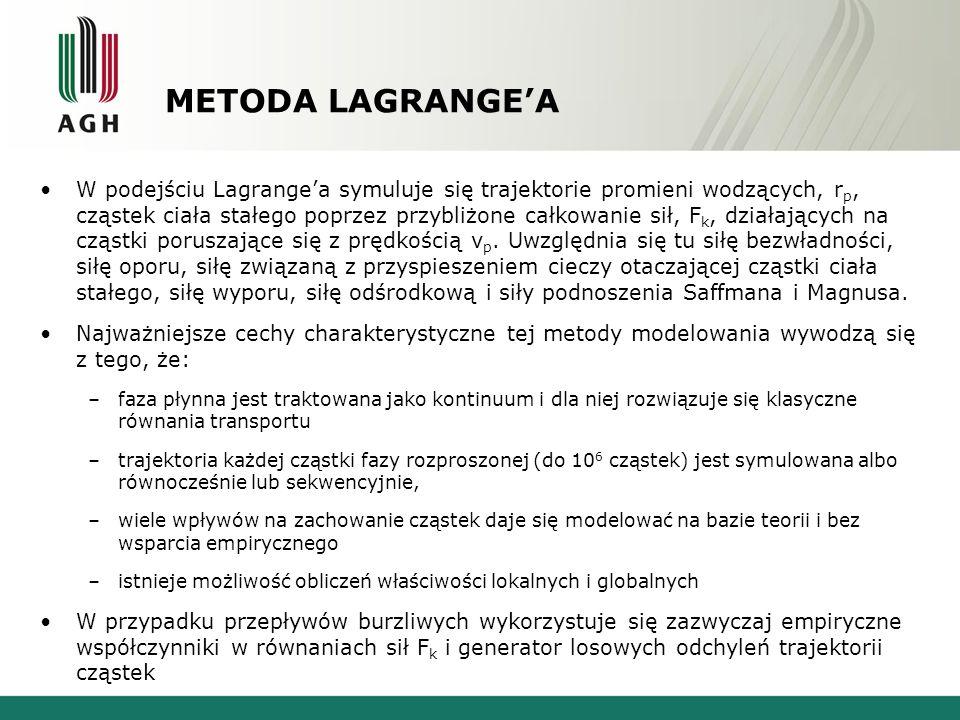 METODA LAGRANGEA W podejściu Lagrangea symuluje się trajektorie promieni wodzących, r p, cząstek ciała stałego poprzez przybliżone całkowanie sił, F k, działających na cząstki poruszające się z prędkością v p.
