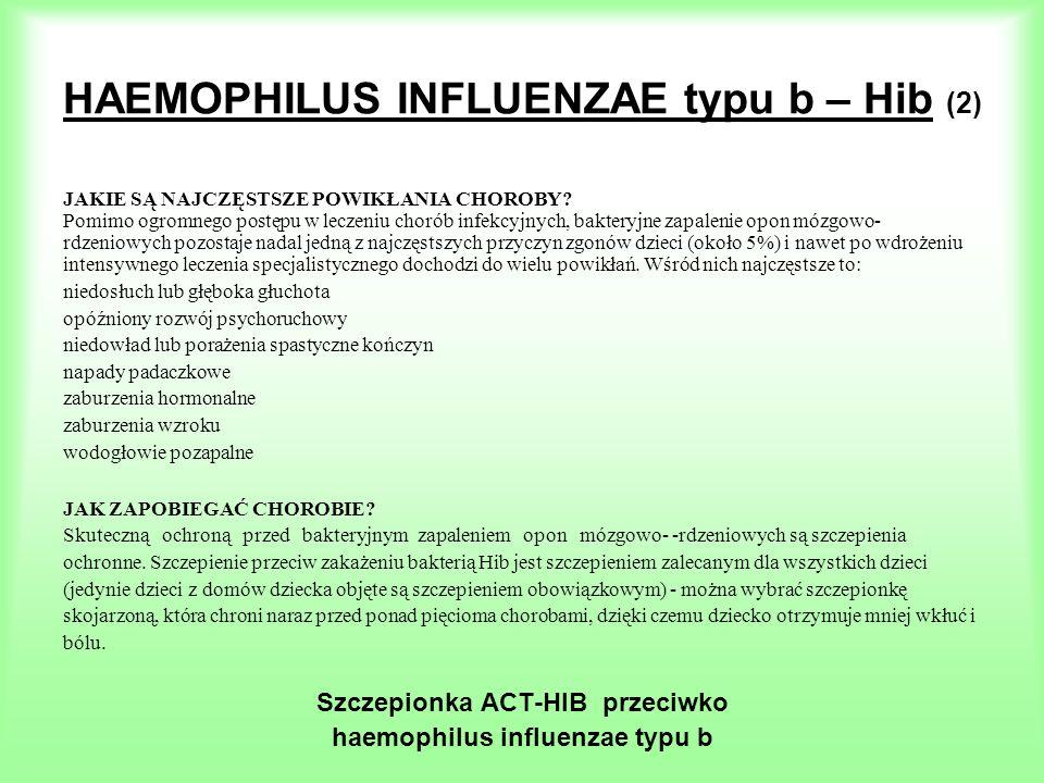 HAEMOPHILUS INFLUENZAE typu b – Hib (2) JAKIE SĄ NAJCZĘSTSZE POWIKŁANIA CHOROBY? Pomimo ogromnego postępu w leczeniu chorób infekcyjnych, bakteryjne z