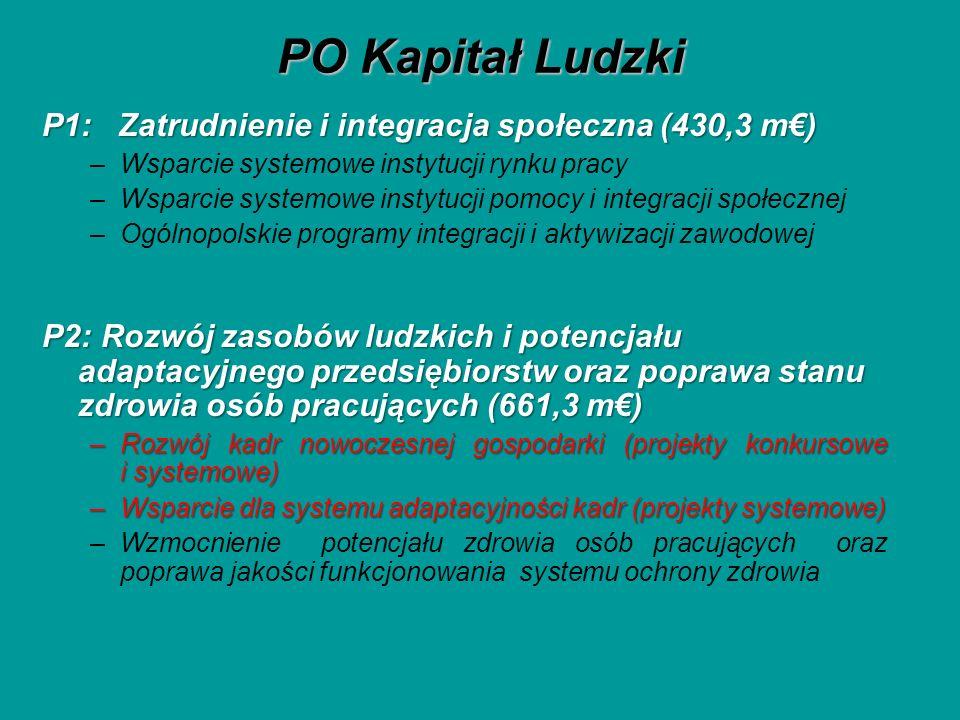 PO Kapitał Ludzki P1: Zatrudnienie i integracja społeczna (430,3 m) –Wsparcie systemowe instytucji rynku pracy –Wsparcie systemowe instytucji pomocy i integracji społecznej –Ogólnopolskie programy integracji i aktywizacji zawodowej P2: Rozwój zasobów ludzkich i potencjału adaptacyjnego przedsiębiorstw oraz poprawa stanu zdrowia osób pracujących (661,3 m) –Rozwój kadr nowoczesnej gospodarki (projekty konkursowe i systemowe) –Wsparcie dla systemu adaptacyjności kadr (projekty systemowe) –Wzmocnienie potencjału zdrowia osób pracujących oraz poprawa jakości funkcjonowania systemu ochrony zdrowia