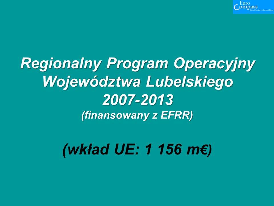 Regionalny Program Operacyjny Województwa Lubelskiego 2007-2013 (finansowany z EFRR) Regionalny Program Operacyjny Województwa Lubelskiego 2007-2013 (finansowany z EFRR) (wkład UE: 1 156 m)