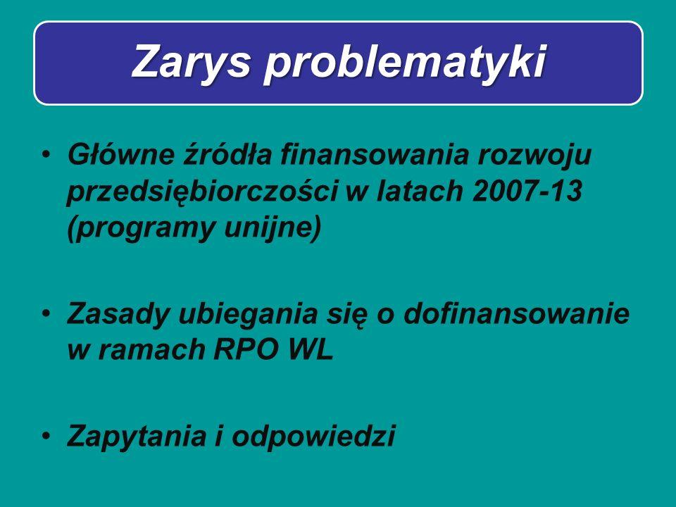 Zarys problematyki Główne źródła finansowania rozwoju przedsiębiorczości w latach 2007-13 (programy unijne) Zasady ubiegania się o dofinansowanie w ra