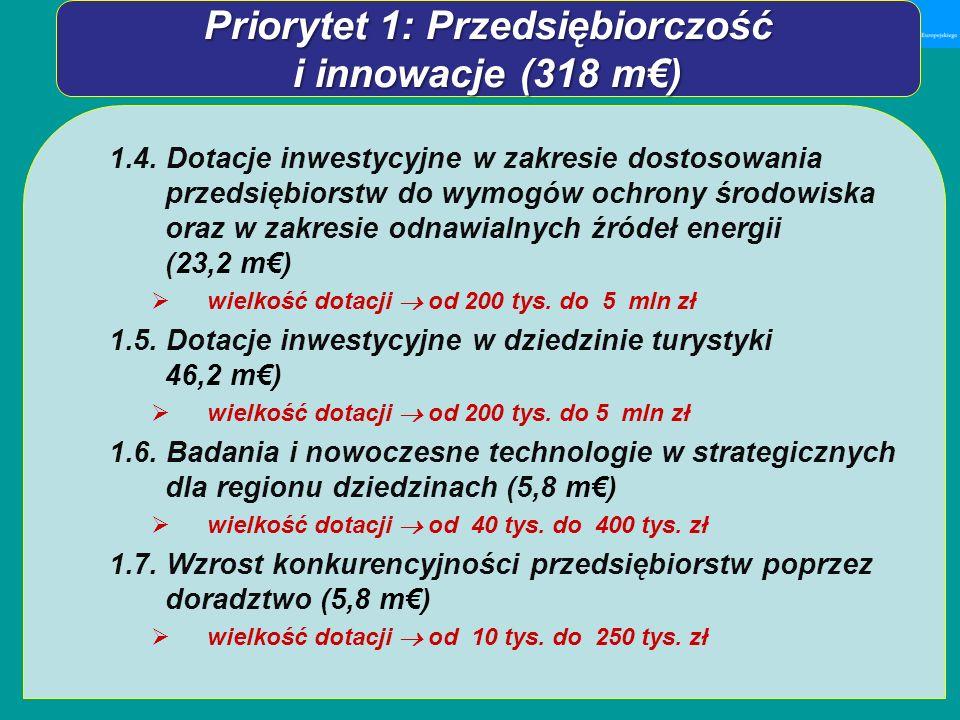 1.4. Dotacje inwestycyjne w zakresie dostosowania przedsiębiorstw do wymogów ochrony środowiska oraz w zakresie odnawialnych źródeł energii (23,2 m) w