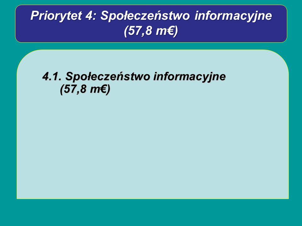 Priorytet 4: Społeczeństwo informacyjne (57,8 m) 4.1. Społeczeństwo informacyjne (57,8 m)